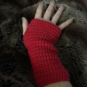 Accessories - Fingerless gloves lovely red cotton